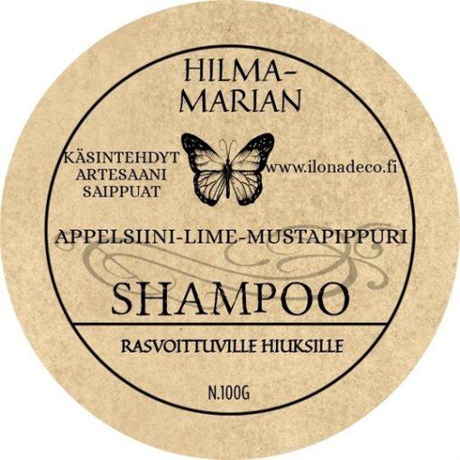 Appelsiini-Lime-Mustapippuri -shampoo
